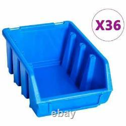 96 Piece Storage workshop Bin Kit Box Wall Mount Garage Tool Rack Organiser Blue