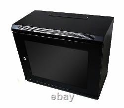 9U 300mm Black Wall Cabinet Network Data Rack For Patch Panel, PDU & LAN Switch