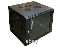 9U Server Rack Data Network Cabinet Double Door 19 inch 600 x 550mm Black