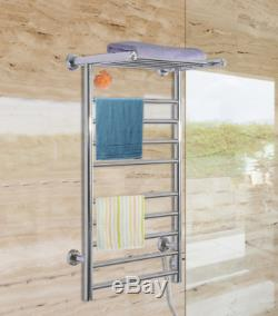 9 Bar Electric Heated Towel Warmer Rack Bathroom Wall Mounted Drying Bars, Shelf