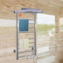 9-Bar Stainless Steel Wall Mounted Electric Heated Towel Rack Warmer w Shelf New