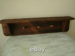 ANTIQUE PRIMITIVE HARNESS / TACK / COAT Wall Mounted Peg Rack With Shelf VGC