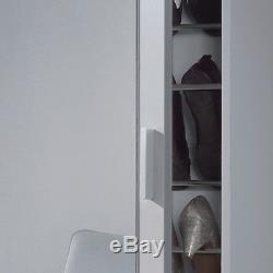 Angelo Tall Slim Shoe Storage Cabinet Mirrored Door White Wall Mountable