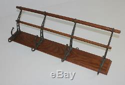 Antique 4 Hook Cast Iron & Oak Wall Mount Hat Coat Rack RR School Home Cabin OLD