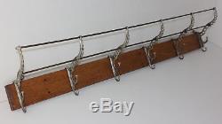 Antique 6 Hook Cast Iron & Oak Wall Mount Hat Coat Rack RR School Home Cabin OLD