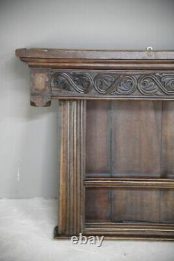 Antique Carved Oak Wall Mount Shelves Plate Rack Dresser Top