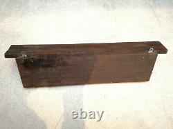 Antique Coat Rack Original & Genuine 5 Cast Iron Hooks Oak wood shelf