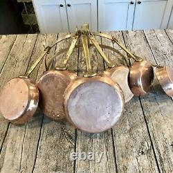 Antique Copper Semi-Round Dutch Wall Mount Pot Rack & 6 Frying, Sauté Pans