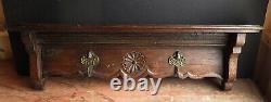 Antique Dark Oak Carved Plate Rack/shelf With Brass Cherub Hooks
