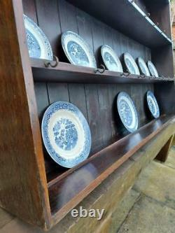 Antique George III Wall Dresser Shelves Georgian Wall Plate Rack Dark Oak