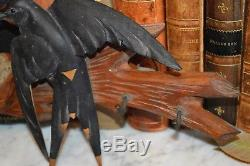 Antique German Bird and Nest Black Forest Carved Wood Key Hook Rack Wall Mount