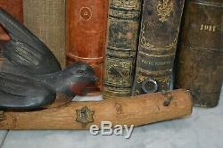 Antique German Bird on Limb Black Forest Carved Wood Key Hook Rack Wall Mount