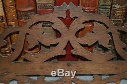 Antique German Black Forest Carved Wood Pipe Rack Holder Wall Mount