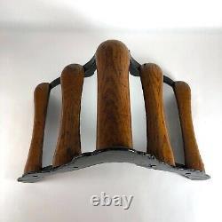 Antique JW Fiske Cast Iron Wood Wall Mounted Horse Saddle Rack