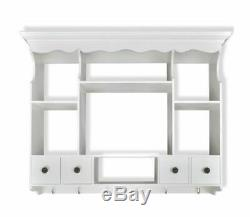 Antique Kitchen Cabinet Wall Mounted White Wooden Cupboard Plates Rack Holder