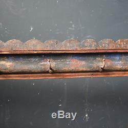 Antique Long Wooden Coat Rack Hooks Ornate Vintage Wall Mounted original