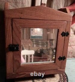 Antique Oak Wood Primitive Wall Mounted Spice Medicine Cabinet Rack with Mirror