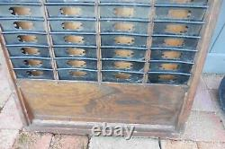 Antique Railroad Clocking In Time Card holder rack Wall mounted Wooden Oak Metal