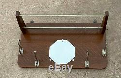 Antique Railroad Pullmans Train Car Oak Coat / Hat Luggage RACK w Mirror