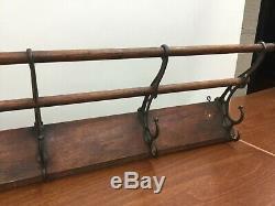 Antique Railroad Schoolhouse Wall Mount Coat & Hat Rack 5 Cast Iron Double Hooks