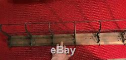 Antique Railroad Schoolhouse Wall Mount Coat& Hat Rack 6 Cast Iron Double Hooks