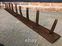 Antique Vintage Wooden Bridle Tack Rack Equine Wall Hooks