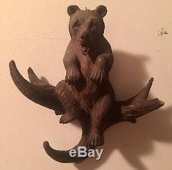 Antique Wooden Black Forest Hand Carved Bear Wall Mount Coat/Hat Rack OLD LK