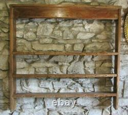 Antique large pine PLATE DELFT RACK 5ft wide wall mounted dresser top