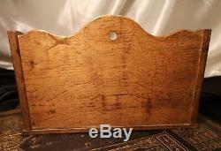Antique oak letter rack, Edwardian letter holder