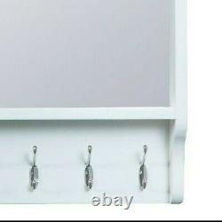 Asher White Large Hall Bench Top / Solid Wood Wall Mounted Coat Rack