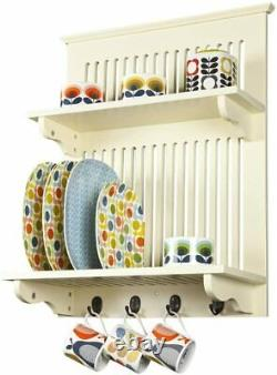 Aston Buttermilk Kitchen Plate Rack, Wooden and Wall Mounted. Solid Top Shelf by