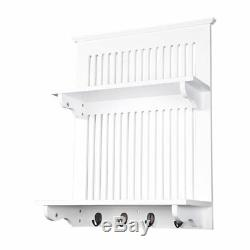 Aston White Kitchen Plate Rack, Wooden and Wall Mounted. Solid Top Shelf above