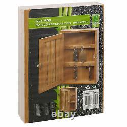 Bamboo Wall Mounted Key Box & Brackets Cupboard Hooks Holder Storage Cabinet NEW