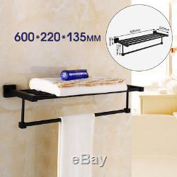 Bathroom Bath Wall Mounted Towel Rail Holder Shelf Storage Rack Stainless Steel