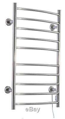 Bathroom Electric Heated Towel Rack Warmer 10-Bar Stainless Steel Wall Mounted