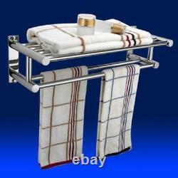 Bathroom Wall Mounted Chrome Towel Rail Holder Storage Rack Shelf (PACK of 2)