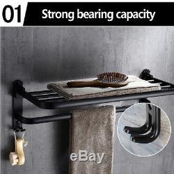 Bathroom Wall-Mounted Oil Black Foldable Towel Rail Storage Rack Shelf Holder UK