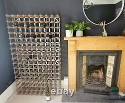Beautiful vintage large metal and wood wine rack- 144 bottles 5 available