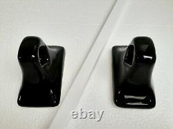 Black Ceramic Towel Rack Rod Post Holders White Bar Vintage Mid Century Modern