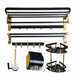Black Gold Bathroom Accessories Towel / Toilet Paper / Brush and Clothes racK