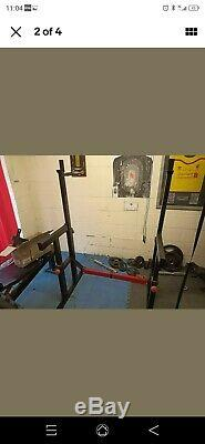 Bodymax Barbell Squat Rack, dip bars and wall mounted pulley