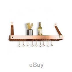 Bookshelf Pot Rack Satin Copper Wall Mount Hanging Pans Storage Kitchen Holder