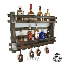 Bourbon Barrel Drinks Rack Liquor Cabinet Whiskey Shelf Wine Bar