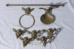 Brass Cherubs Angels Bathroom Fixtures Towel Rack, Soap Dish, & Hooks