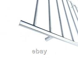 Brushed Chrome silver Non Heated Towel Rail rack ladder round 850mm wide 8 bar