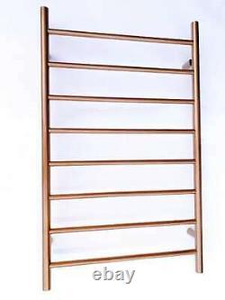 Brushed Copper rose gold Heated Towel Rail rack ladder round 850 mm wide 8 bar