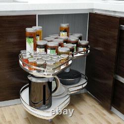 Built-in Pull out Blind Corner Basket Carousel 2 Tire Shelve Holder Rack Kitchen
