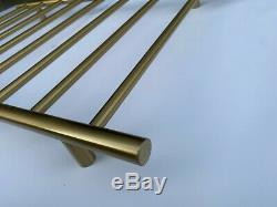 Burnished brass Brushed Gold Non Heated Towel Rail rack round 850 mm wide 5 bar