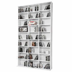 CD DVD Storage Tower Rack for 1080 CDs Unit Shelf Organiser Archieve Wood White