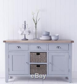 Canterbury Grey Hallway Mirror / Wall Hanging Coat Rack / Grey With Oak Top